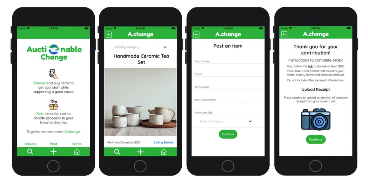 Screenshot of Auctionable Change app.