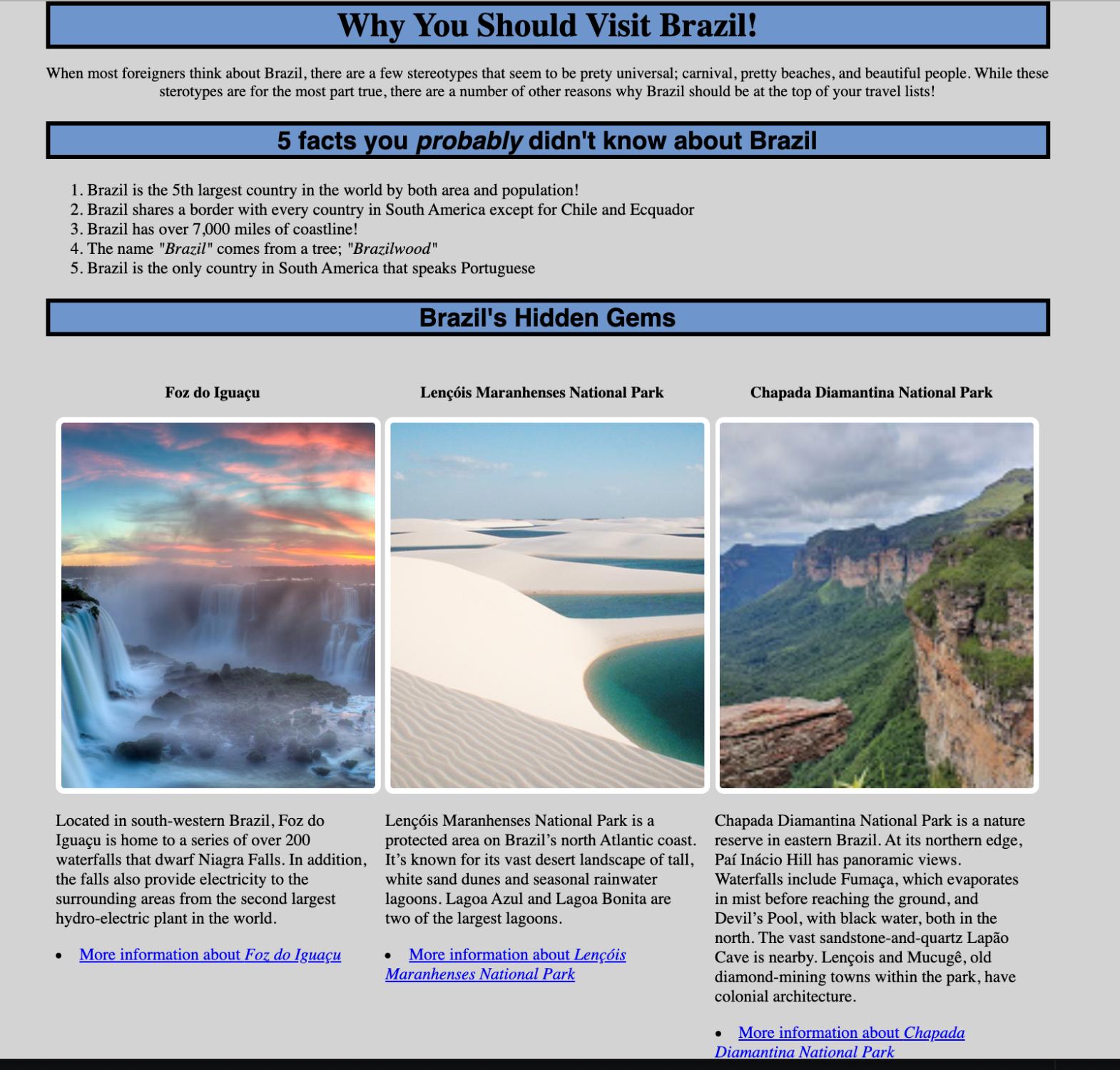 Screenshot of website featuring tourist destinations in Brazil