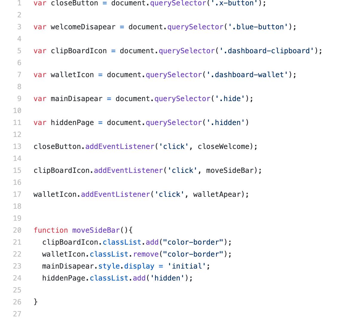Screenshot of Javascript code.