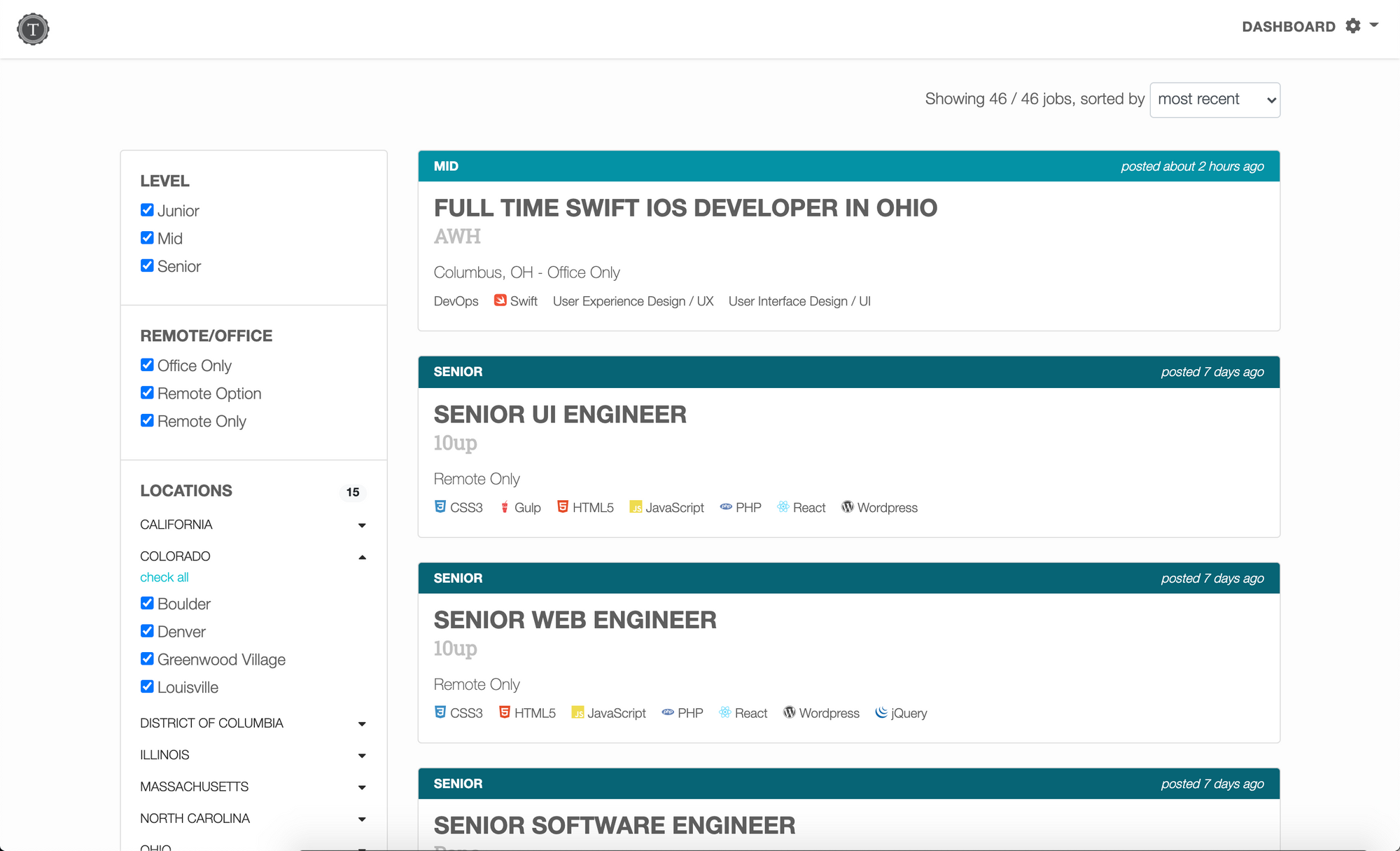 Image of job listings for various tech positions.