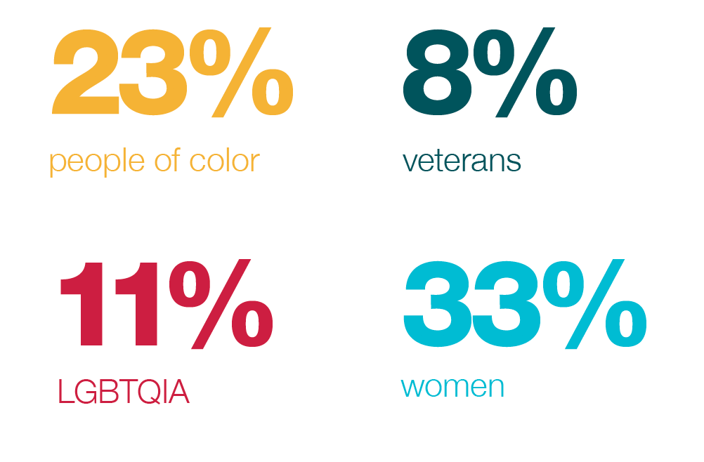 Graphic that reads 23% people of color, 8% veterans, 11% LGBTQIA, 33% women