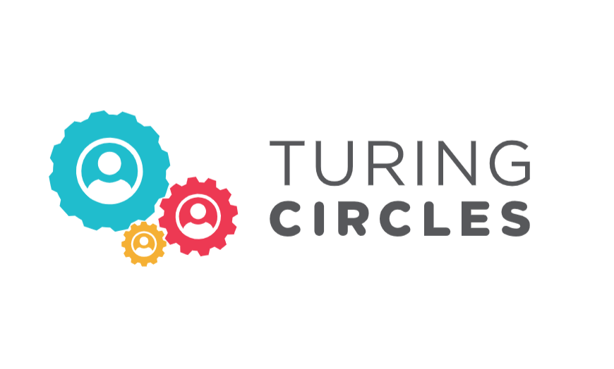 Three interlocking gears in red, yellow, and blue with the words Turing Circles next to it.