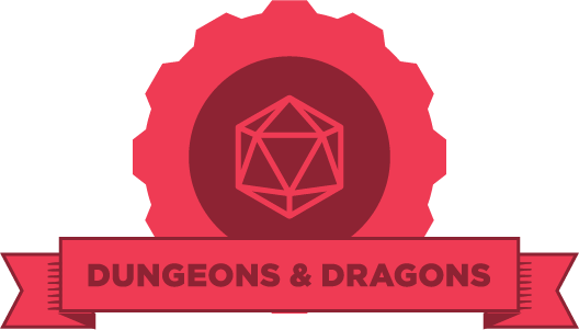 "Red gear with an image of a crystal gem and the words ""Dungeons and Dragons"" on a red banner"