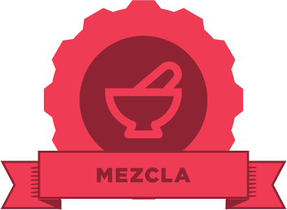 "Red gear with an image of a molcajete and the word ""mezcla"" on a red banner"