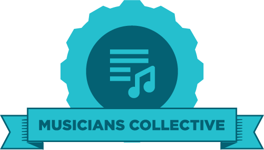 "Blue gear with an image of a music note and the words ""musicians collective"" on a banner"
