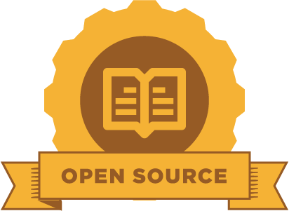 "yellow gear with an image of an open book and the phrase ""open source"" on a banner"