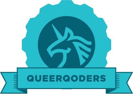 "Blue gear with an image of a unicorn and the word ""queerqoders"" on a banner"