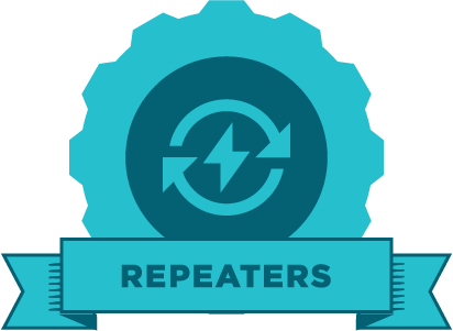"Blue gear with an image circling arrows and the word ""repeaters"" on a banner"