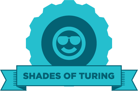 "Blue gear with an image of a face wearing sunglasses and the words ""Shades of Turing"" on a banner"