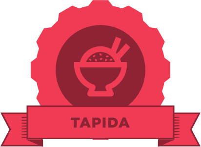 "Red gear with an image of a bowl of rice and chopsticks and the phrase ""TAPIDA"" on a banner"