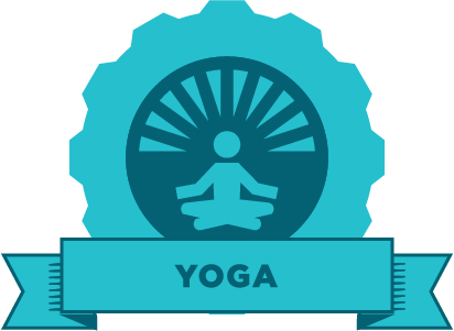 "Blue gear with an image of a person sitting cross legged  and the word ""yoga"" on a banner"