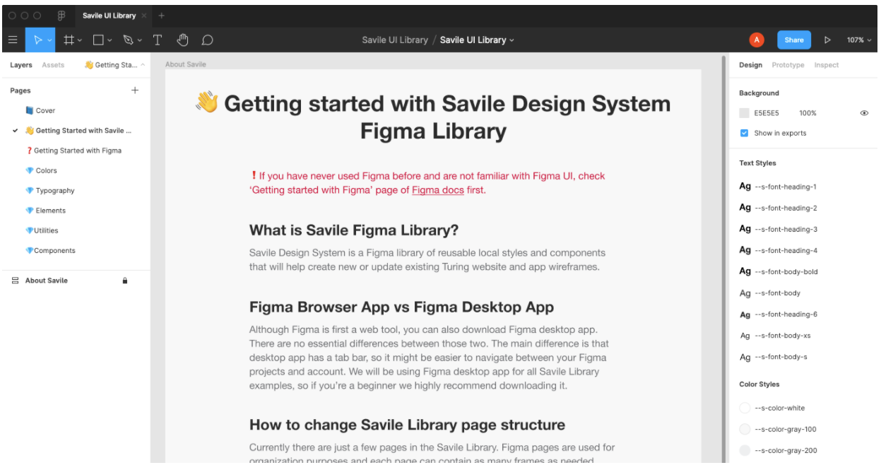 Screenshot of our Figma project, on the home page titled :Getting started with Savile Design System Figma Library