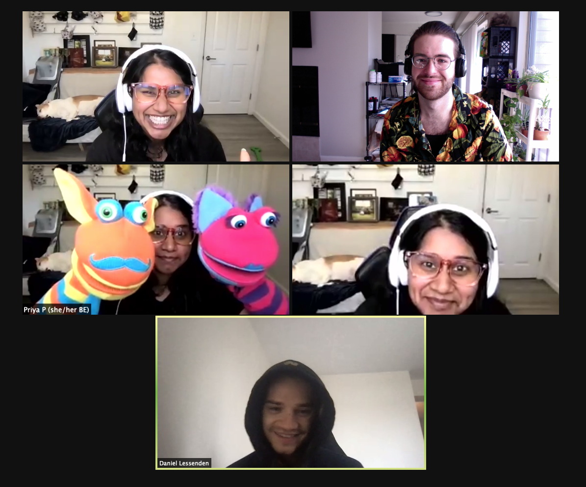 5 blocks of people's faces. The first block has a laughing woman in headphones. The second block is a man wearing a fruit print shirt and smiling. The third block is a woman holding two orange and pink puppets on the screen. The fourth block is the woman in headphones again. The fifth block is a person with a black hood on laughing.